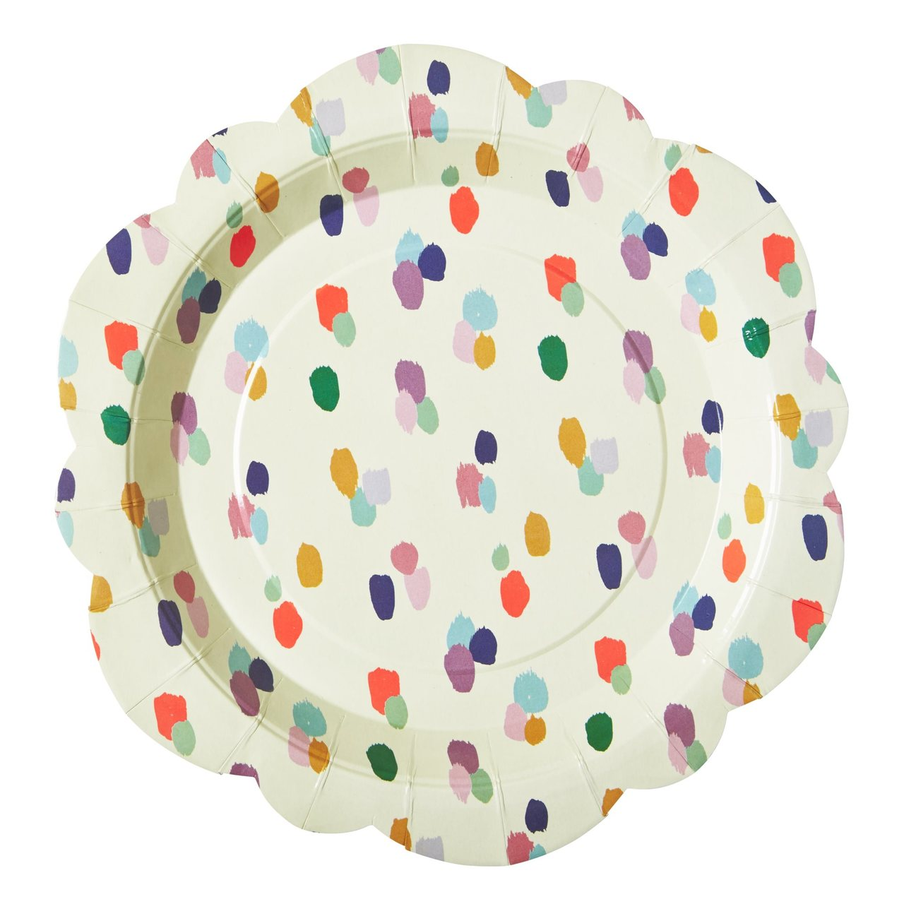 8 Flower shaped paper plates in Dapper Dot print