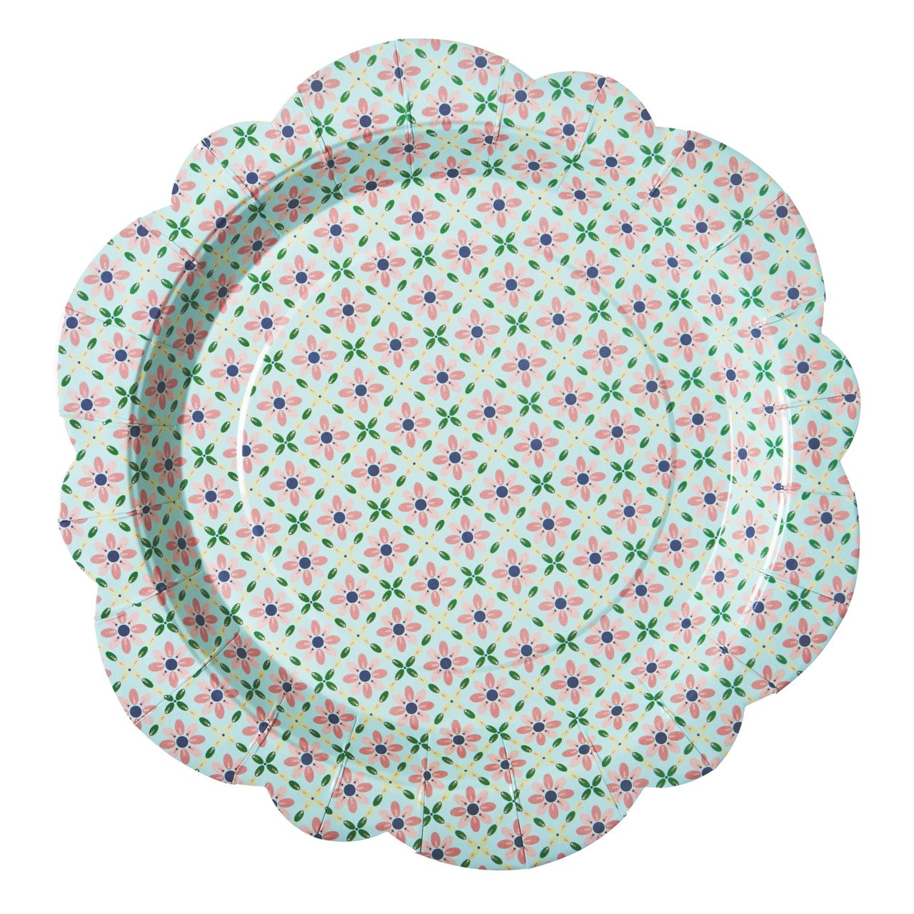 8 Flower Shaped paper plates in Flower Tile print