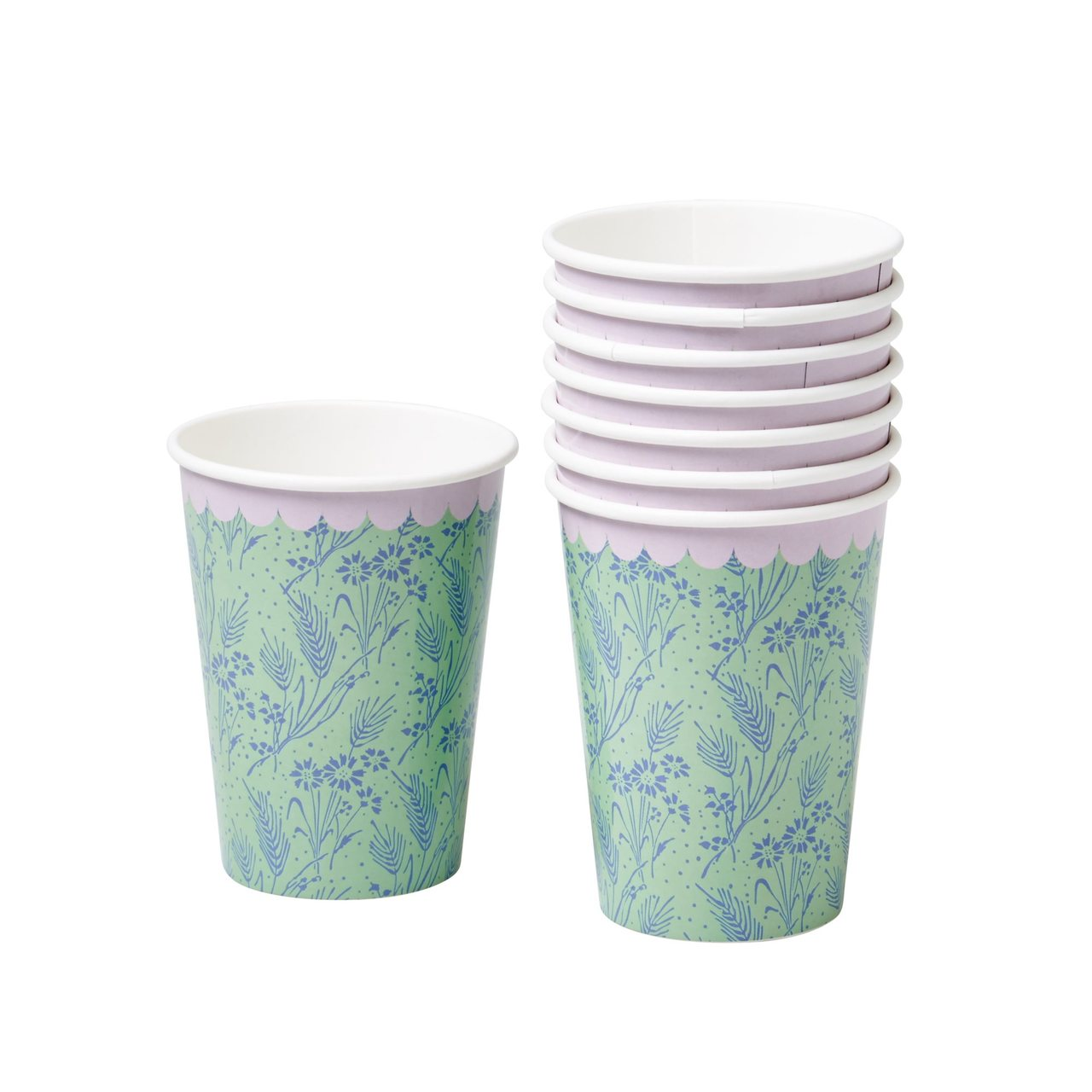 Paper cups, Blue Flower Field print
