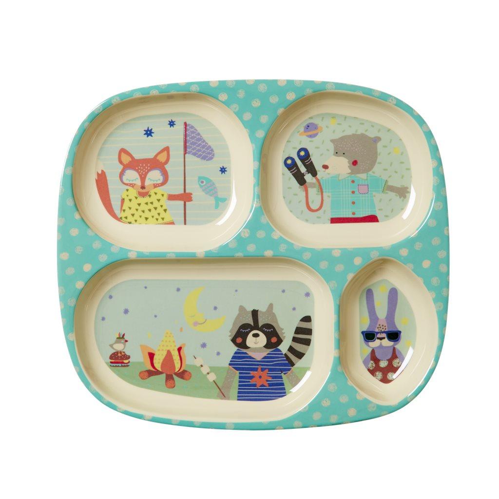 Kids 4 room plate, Boy Camper