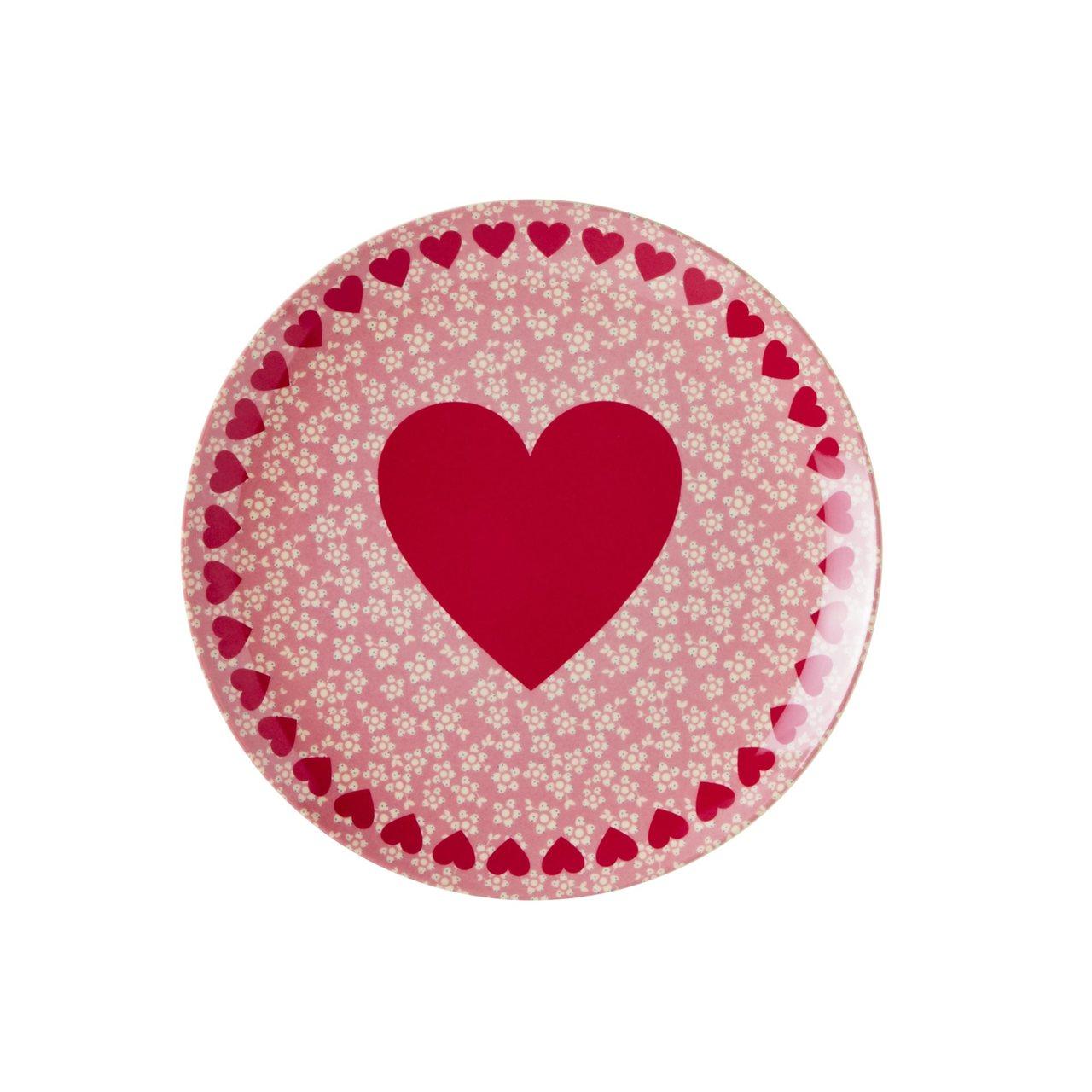 Melamine Dessert Plate with Heart Print