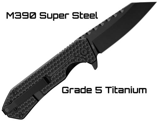 OFF-GRID KNIVES ELITE SERIES - BLACK MAMBA - Bohler M390 Super Steel Blade,  6AL4V Titanium Scales, Ceramic Ball Bearing Flipper Knife with Frame Lock,