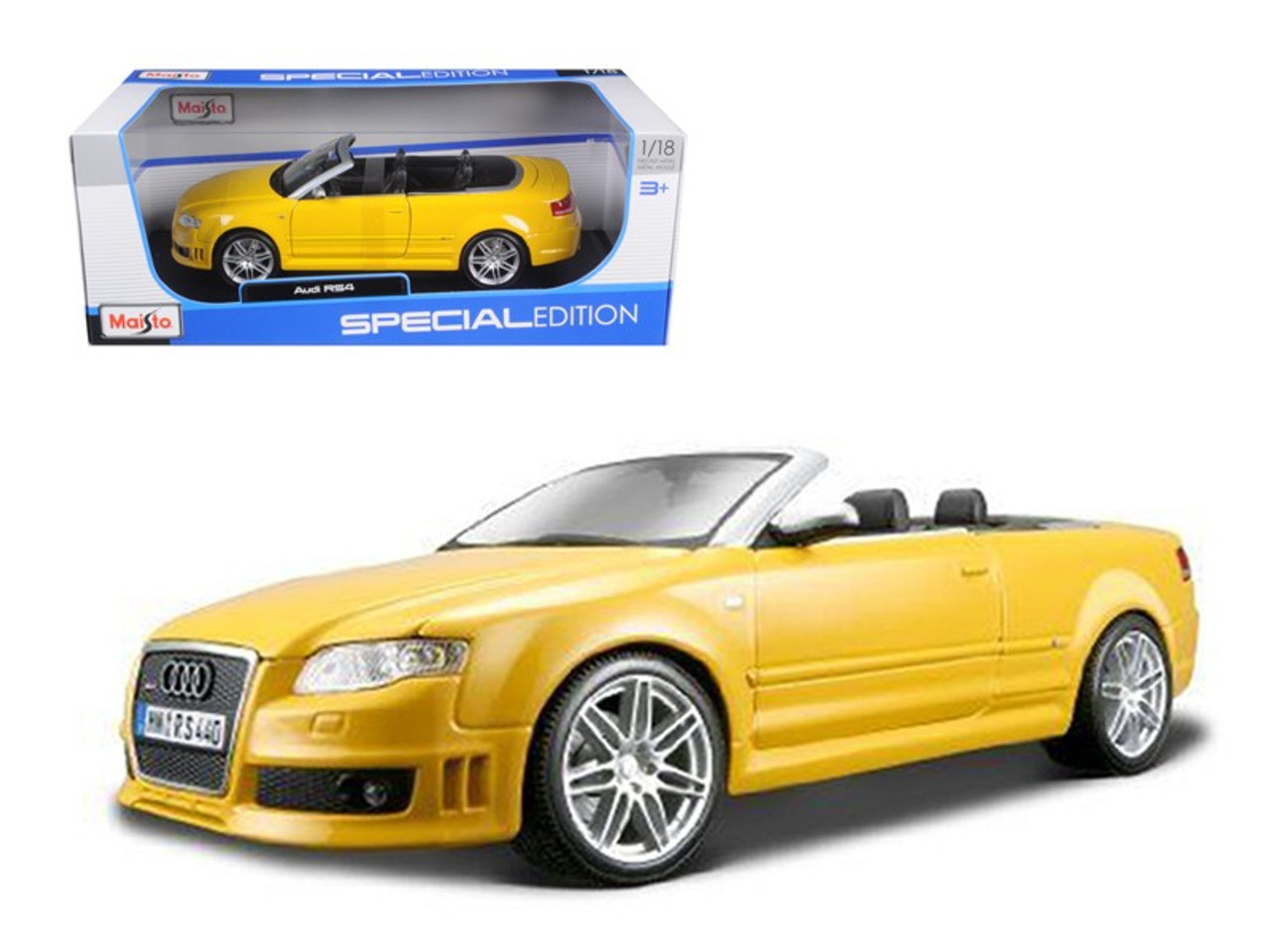 2008 Audi Rs4 Convertible Yellow 1 18 Diecast Model Car By Maisto 31147y
