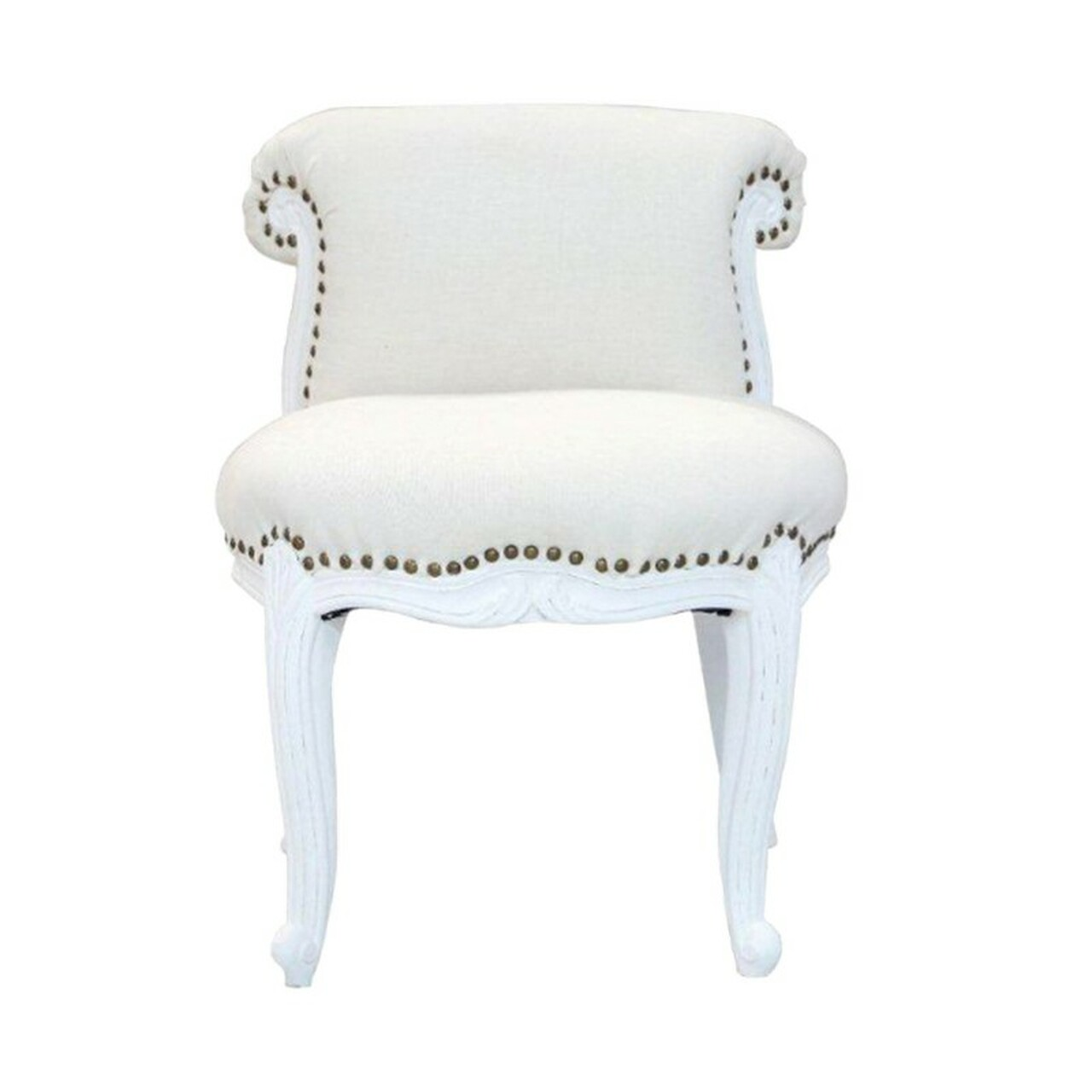 Picture of: 82762 Dk Living Wood Upholstered Slipper Chair White