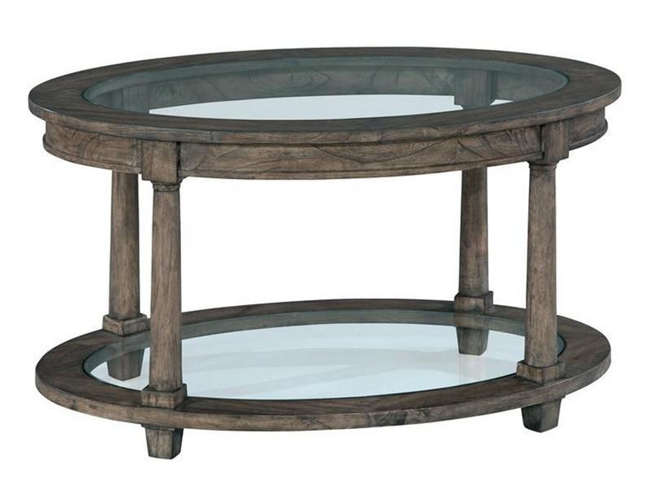 Picture of: 23505 Hekman Lincoln Park Oval Glass Top Coffee Table