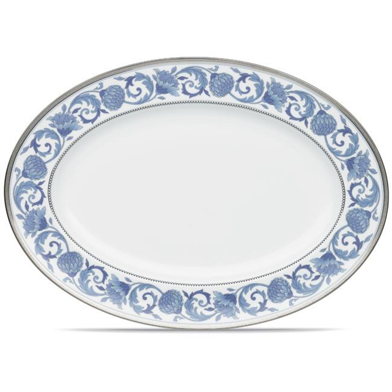 4893 414 Sonnet In Blue 16 Oval Platter By Noritake