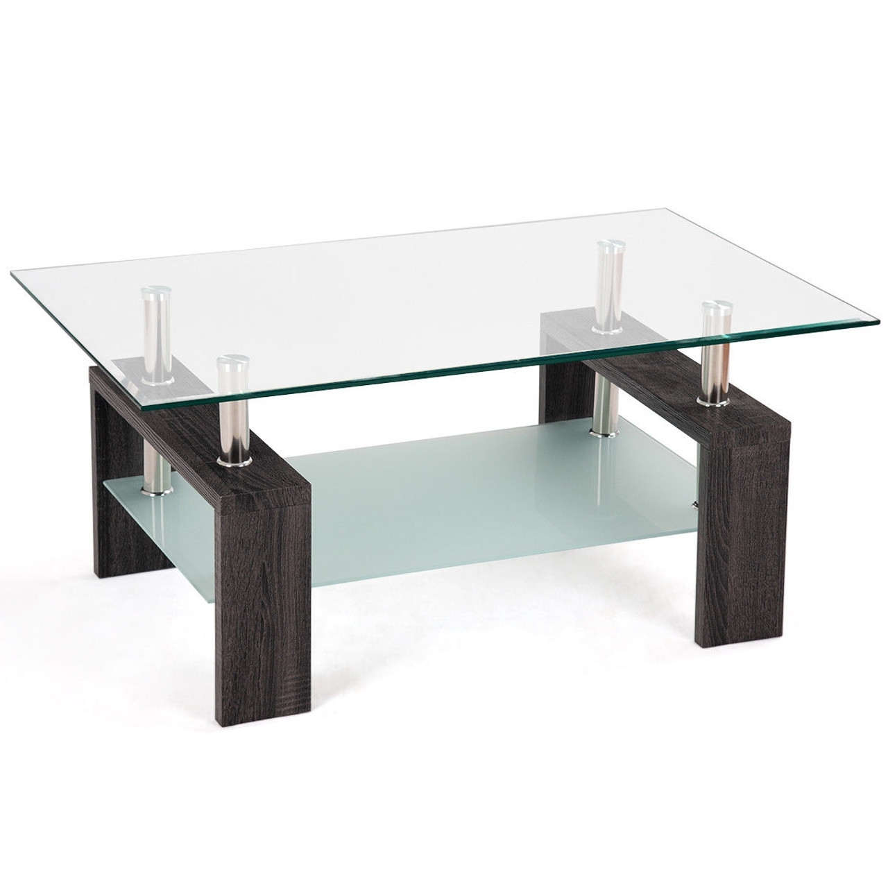 Picture of: Rectangular Tempered Glass Coffee Table With Shelf Black Hw57279bk