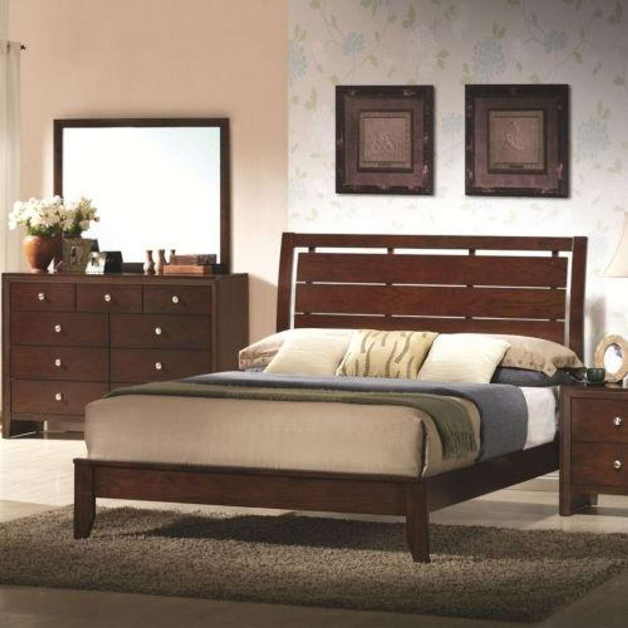 Home Furniture Bed Frame With Platform Wood Slats Tall Headboard Queen Size Hw58990