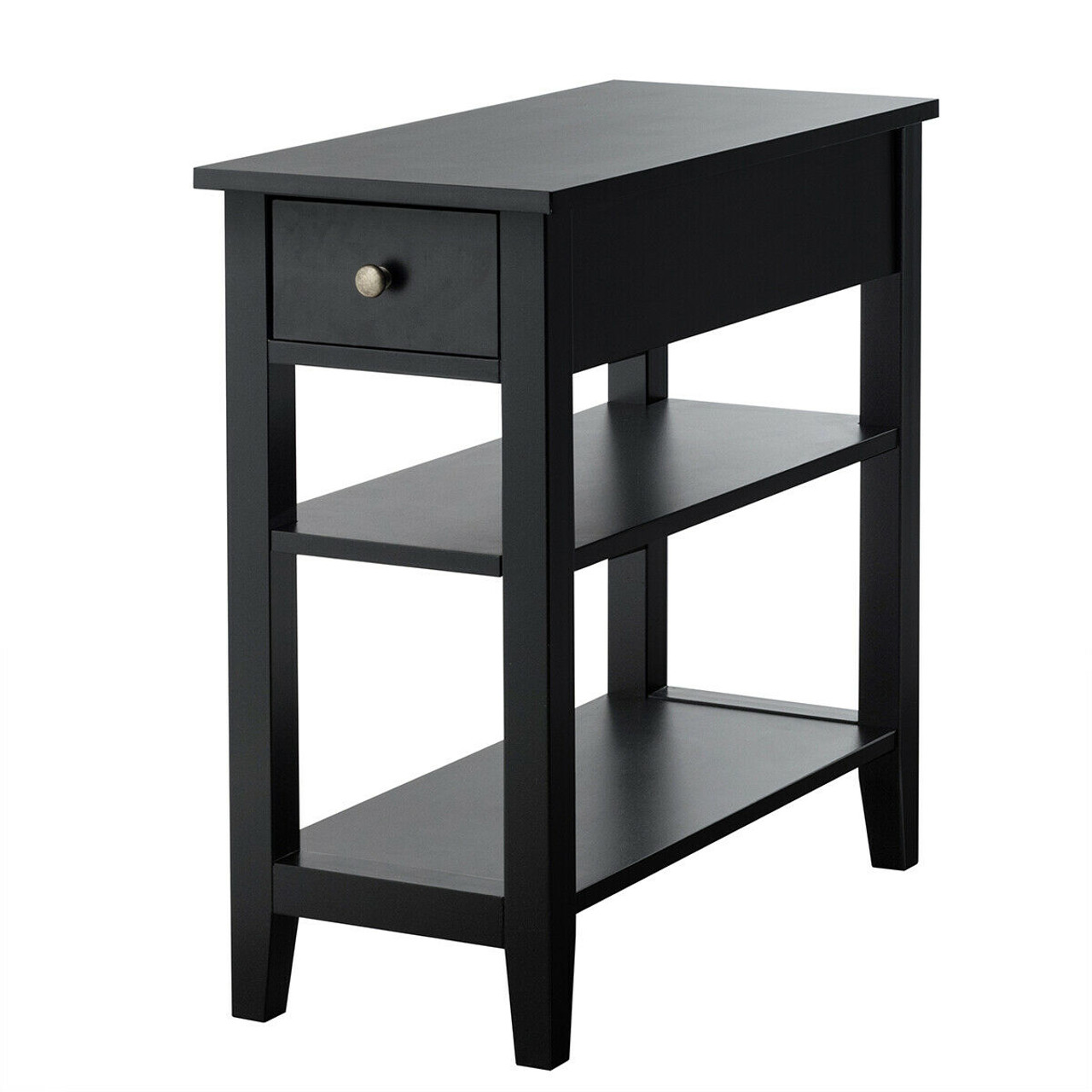 3 Tier Nightstand Bedside Table Sofa Side With Double Shelves Drawer Black Hw61591bk