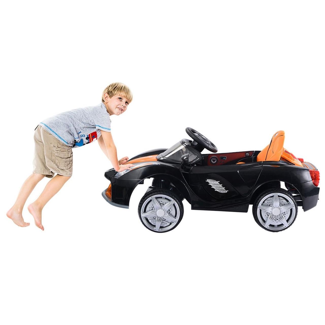 12v Rc Led Lights Battery Powered Kids Riding Car Black Ty324109bk