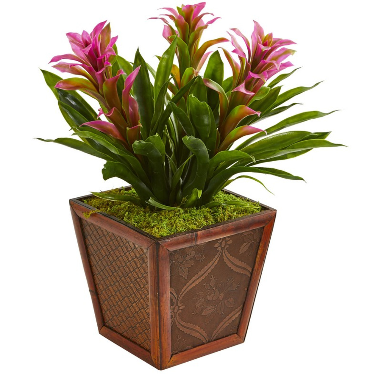 Triple Bromeliad Artificial Plant In Decorative Planter 6476 Pp By Nearly Natural