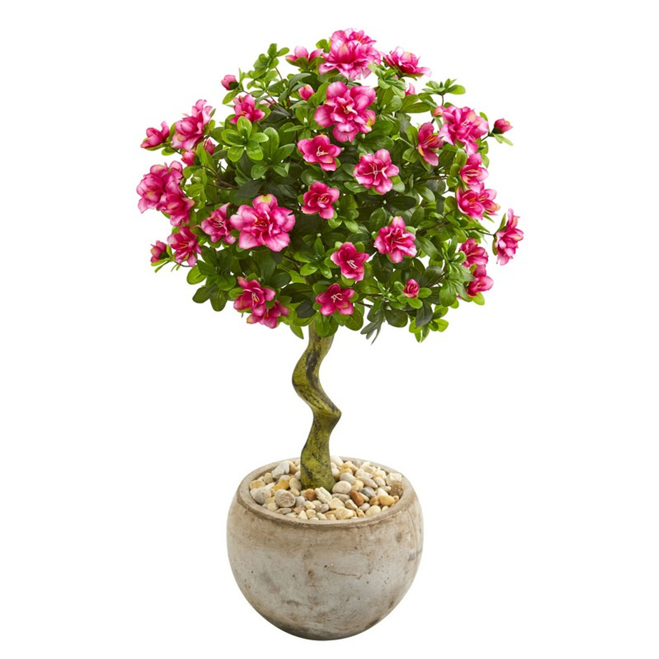 3 Azalea Artificial Topiary Tree In Bowl Planter 9298 By Nearly Natural