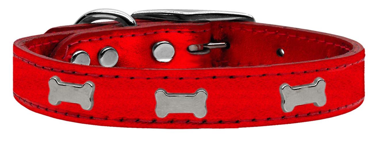 Silver Anchor Widget Genuine Leather Dog Collar