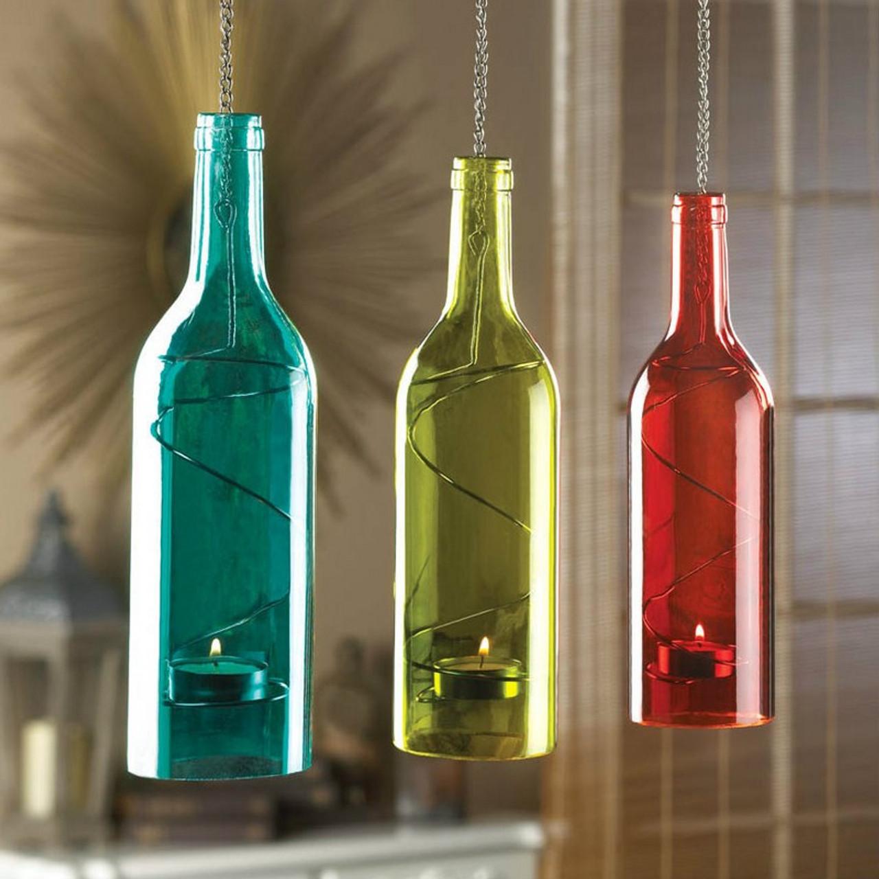 Orange Wine Bottle Hanging Candle Holder 10016789