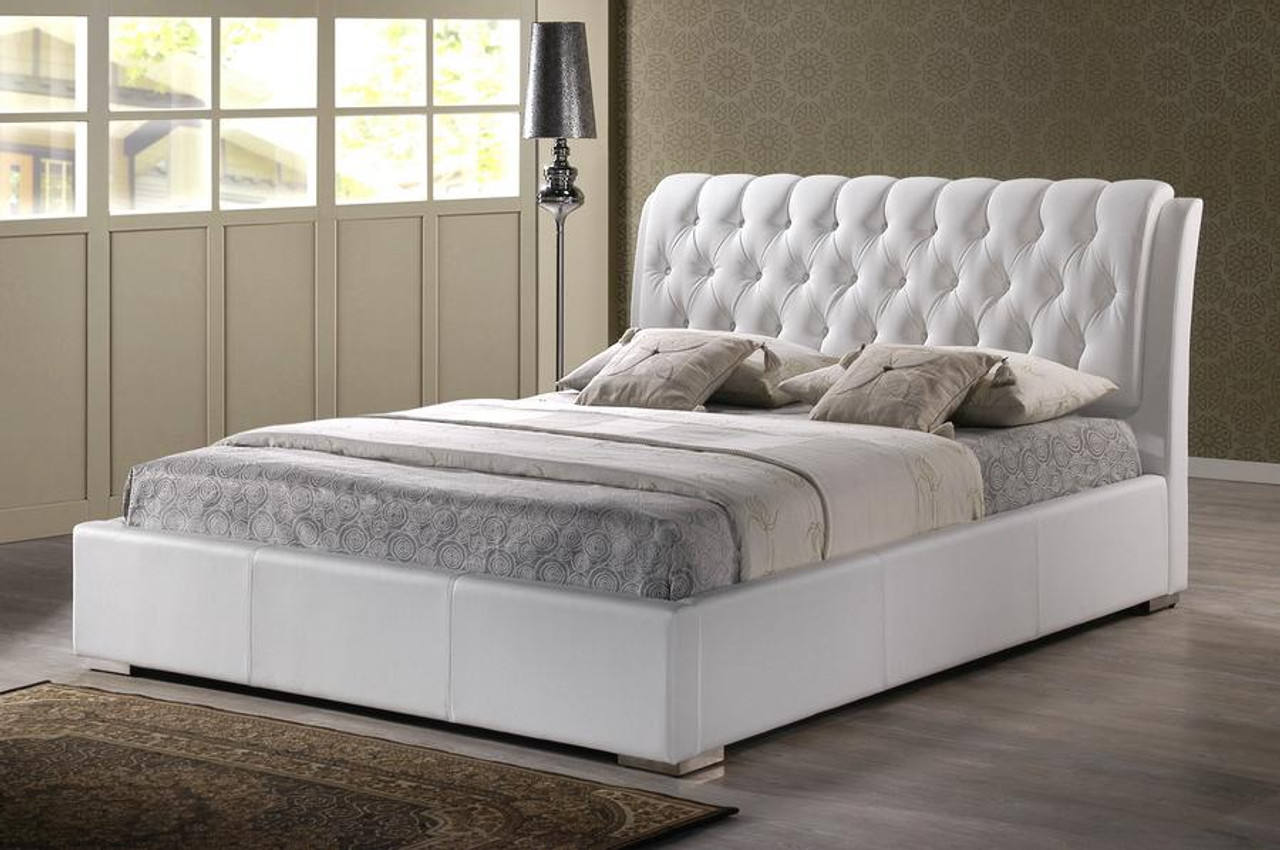 Baxton Studio Bianca White Bed With Tufted Headboard Queen Bbt6203 White Bed
