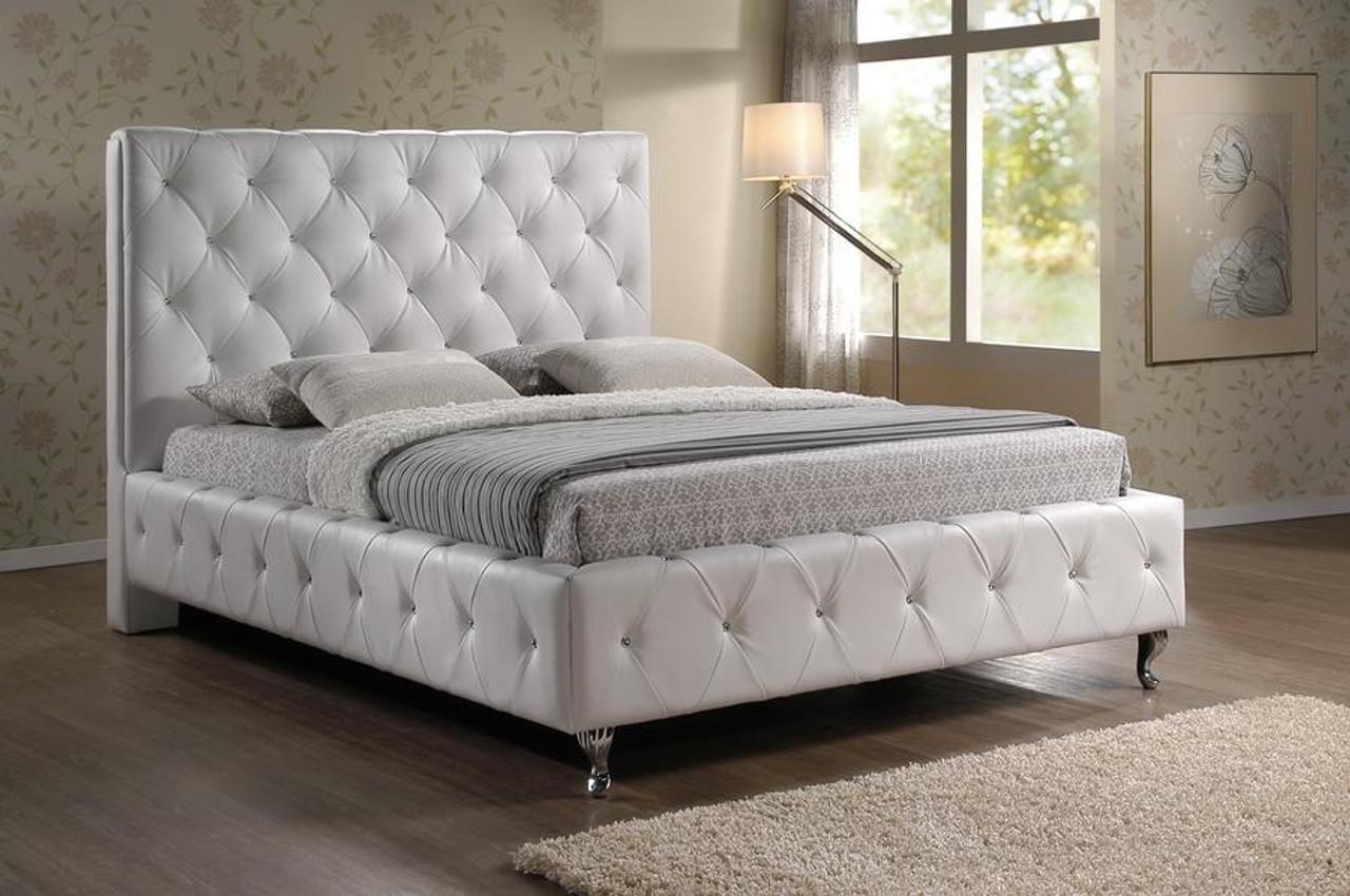 Baxton Studio Stella Crystal Tufted White Bed Headboard Queen Bbt6220 White Queen