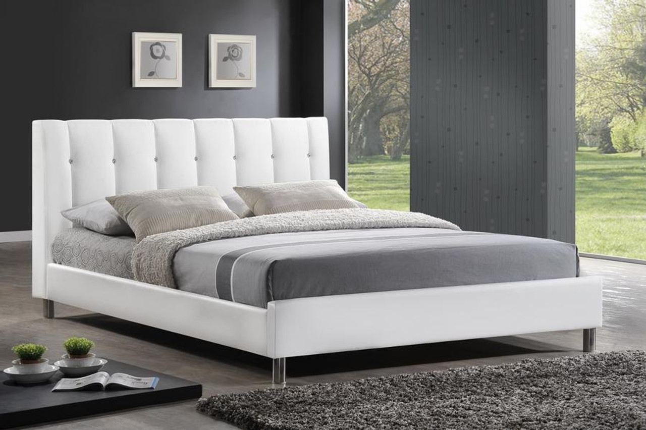 Picture of: Baxton Studio Vino White Bed With Upholstered Headboard Queen Bbt6312 White Queen