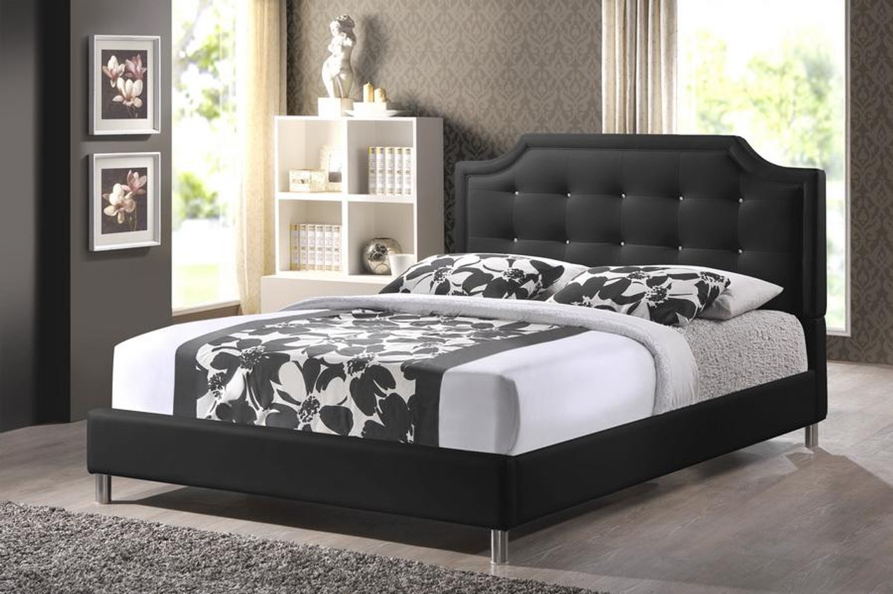 Picture of: Baxton Studio Carlotta Black Bed With Upholstered Headboard Queen Bbt6376 Black Queen