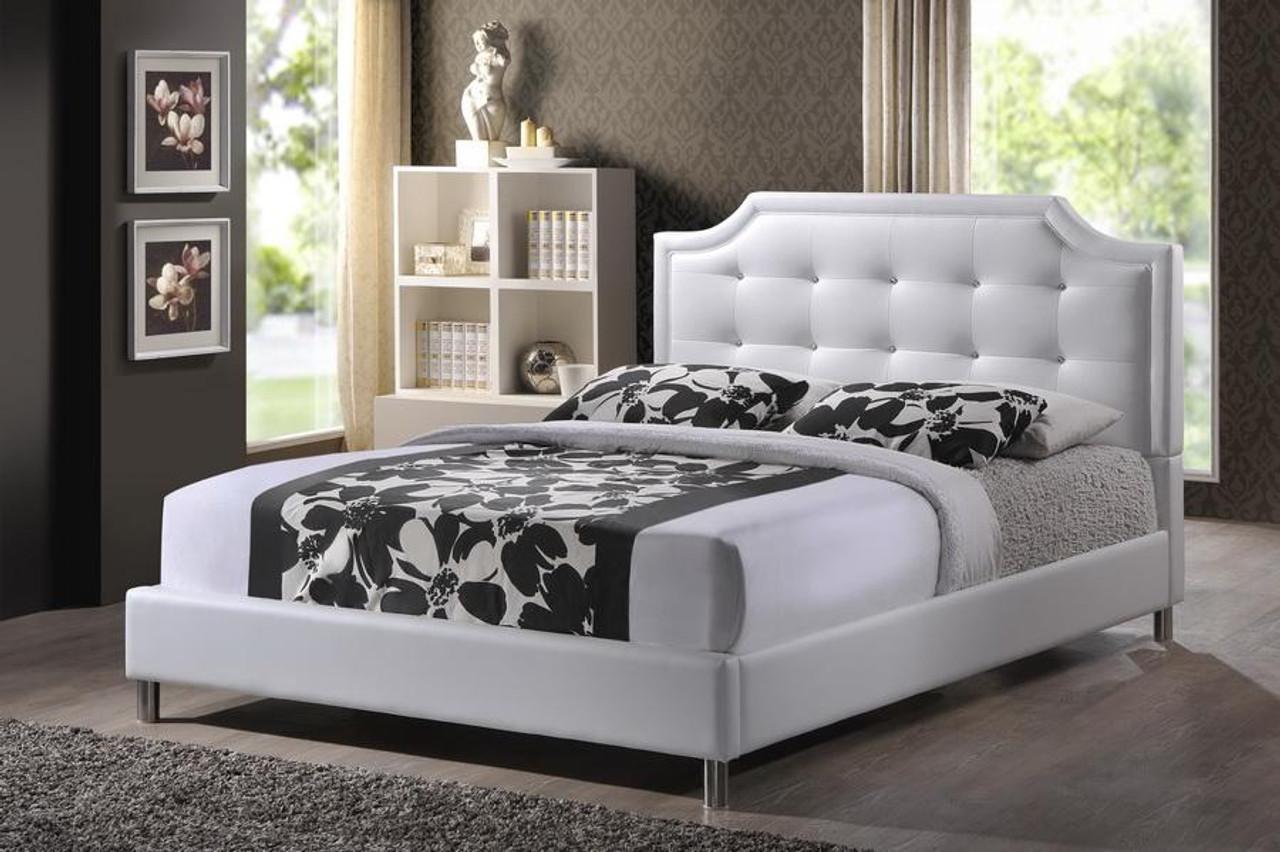 Baxton Studio Carlotta White Bed With Upholstered Headboard King Bbt6376 White King