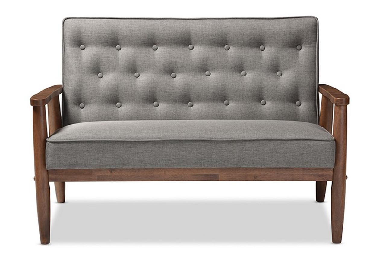 Baxton Studio Sorrento Retro Grey Fabric Wooden Loveseat Bbt8013 Grey Loveseat