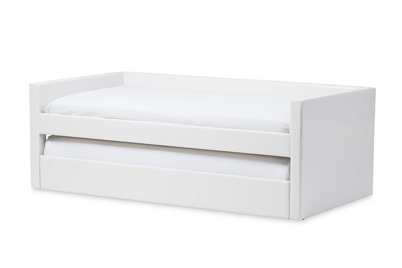 Baxton Studio Risom Twin Daybed Bed Frame With Trundle Cf 8519 White Day Bed