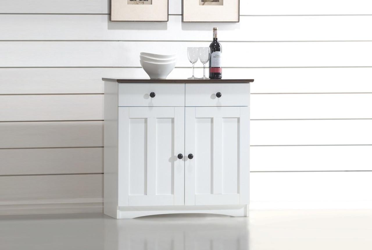 Baxton Studio Lauren 2 Tone Buffet Kitchen Cabinet Dr 883400 White Wenge