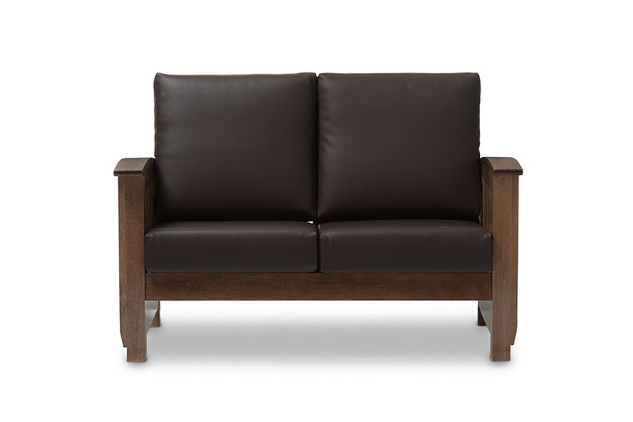 Baxton Studio Charlotte Faux Leather Loveseat Sw3513 Dark Brown Walnut M17 Ls