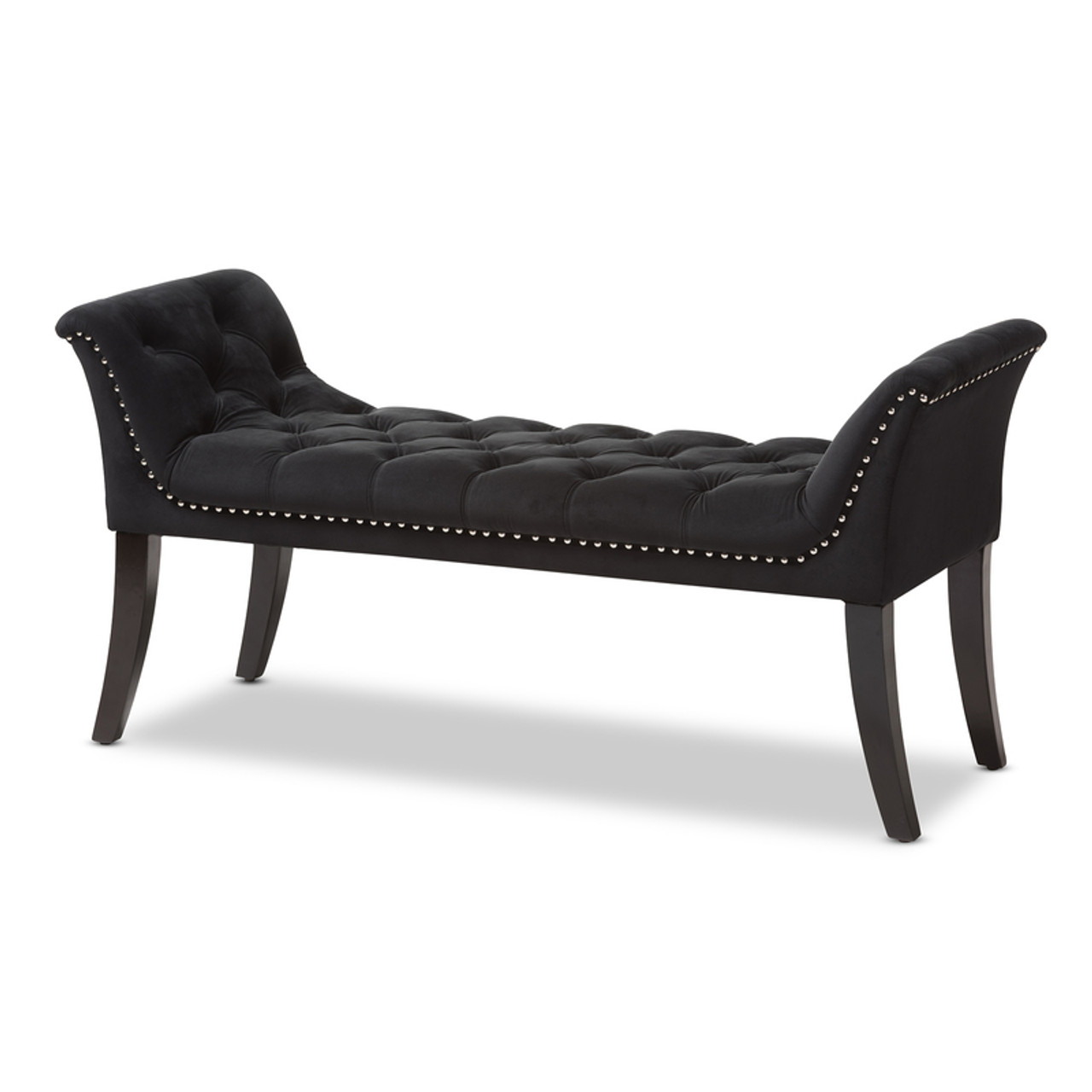 Picture of: Baxton Studio Chandelle Luxe And Contemporary Black Velvet Upholstered Bench