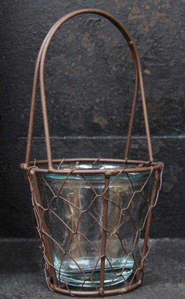 Wire Basket With Glass (Pack Of 5) G70539 By CWI Gifts