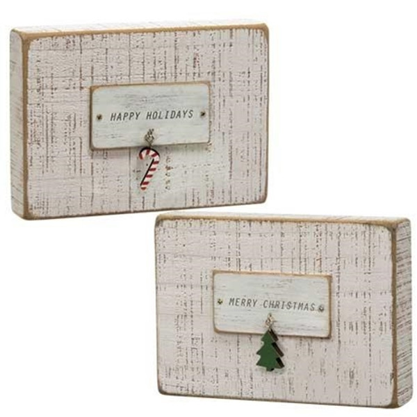 Happy Holidays Charm Table Sign Assorted. Set Of 2 G90332 By CWI Gifts