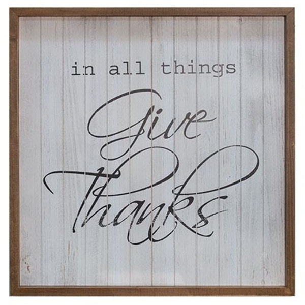 All Things Give Thanks Framed Sign G90384 By CWI Gifts