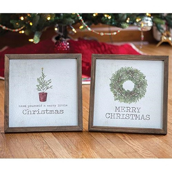 Framed Christmas Watercolor Art Assorted Set Of 2 G90467 By CWI Gifts