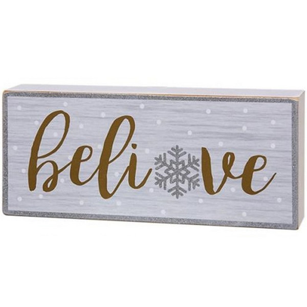 Believe Snowflake Box Sign G90508 By CWI Gifts