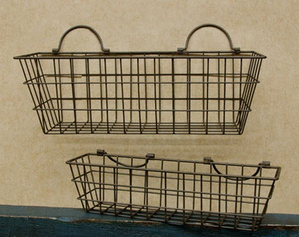 Rusty Wire Wall Baskets ( Set Of 2 ) GE262 By CWI Gifts