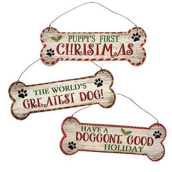 Dog Bone Christmas Sign Assorted Set Of 3 GHY02528 By CWI Gifts