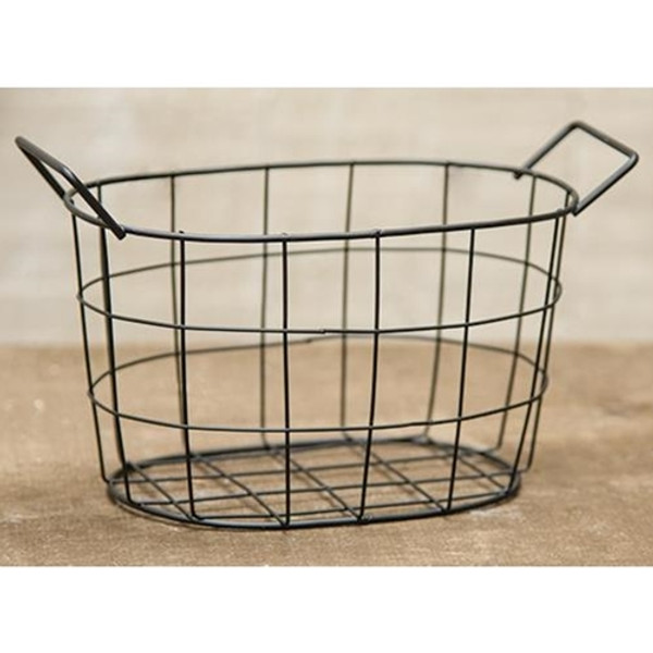 Black Wire Oval Basket, 6.5X4.25 (Pack Of 5) GJHA0636S By CWI Gifts
