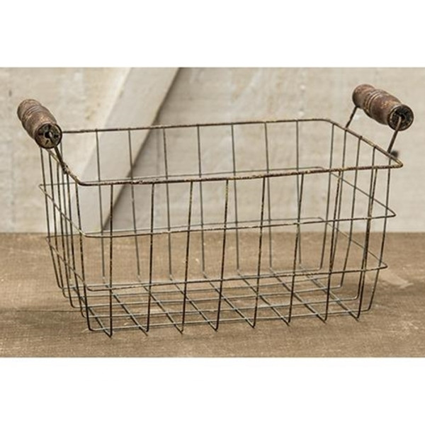 Rusty Wire Rectangle Basket, 8.5X6.25 GJHA0637L By CWI Gifts