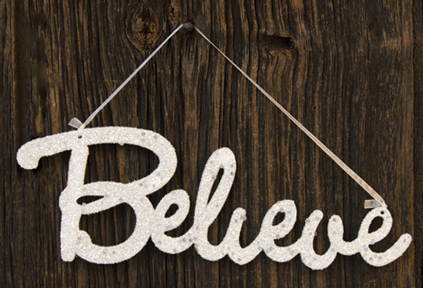 Believe Glitter Sign (Pack Of 5) GJHA1029A By CWI Gifts