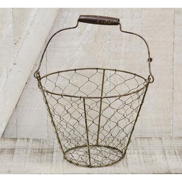 Chicken Wire Basket With Handle GJHA1278 By CWI Gifts