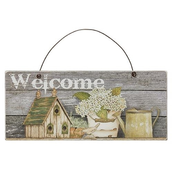 Bird House, Flowers Welcome Sign (Pack Of 5) GJHA1685 By CWI Gifts