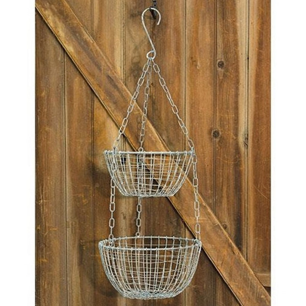Hanging Round Wire Basket Set GK1638 By CWI Gifts