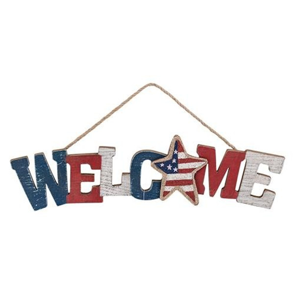 "Americana Welcome Sign, 15"" GM8873 By CWI Gifts"