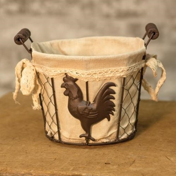 Rooster Wire Basket GQ16065A By CWI Gifts
