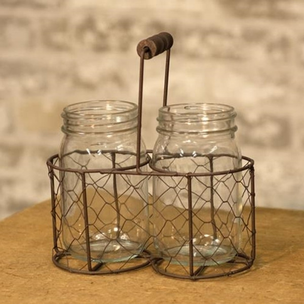 2 Glass Jars With Wire Carrier GQ160903 By CWI Gifts