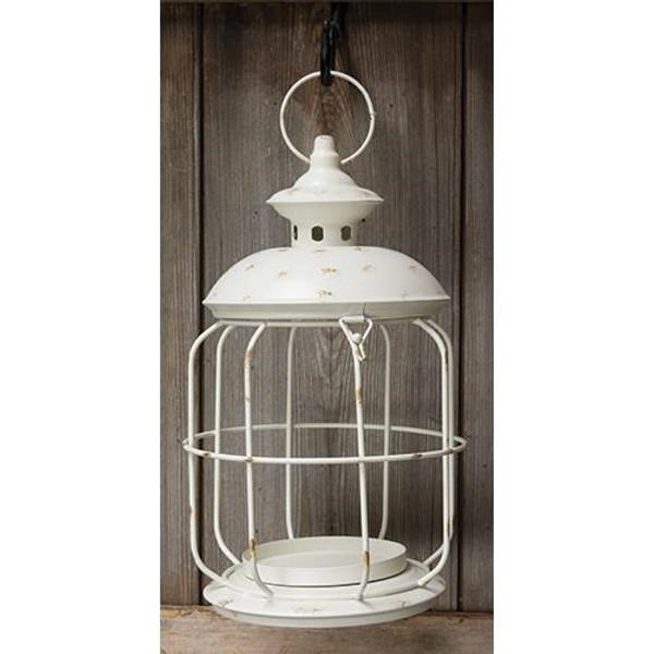 Round White Birdcage Lantern, 14X8 GTMA74701 By CWI Gifts