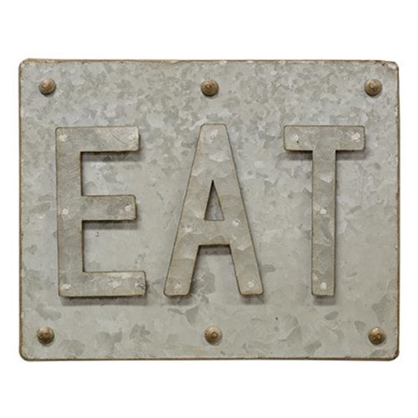 Galvanized Eat Sign GTMA87368 By CWI Gifts