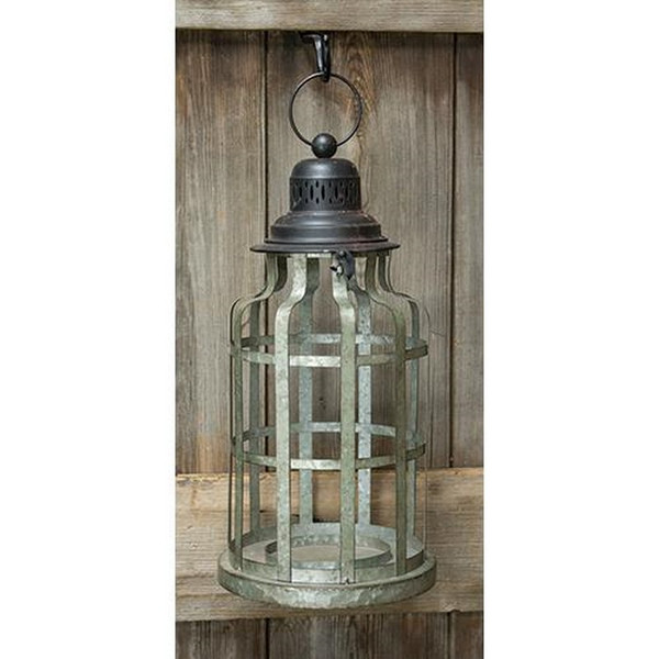 Galvanized Round Cage Lantern GTMX74730 By CWI Gifts