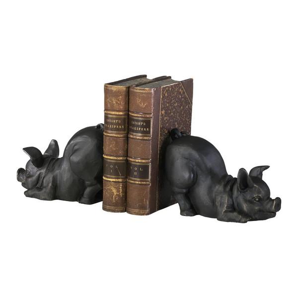 Cyan 2 Piece Piggy Bookends 01218
