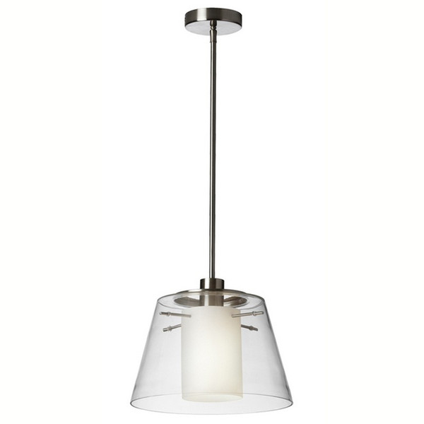 1-Light Pendant with Clear Glass & White Frosted Glass 903-131P-PC