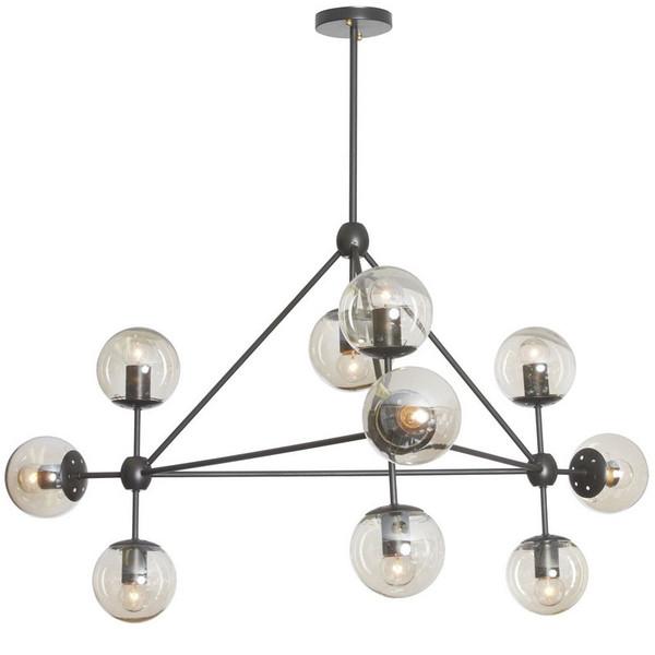 10 Light Triangular Chandelier - Black with Cognac Glass DMI-4410C-BK